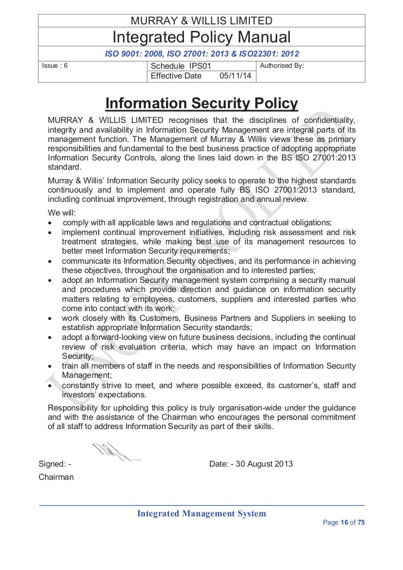 Information Security Policies For Mobile Device Acceptable Use Policy Template