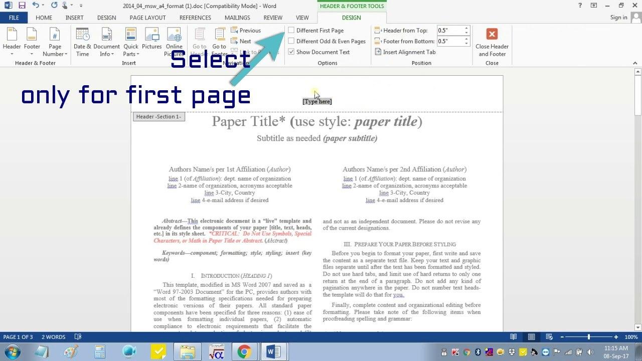 Insert Header Footer In Msword For Ieee Camera Ready Manuscript Regarding Ieee Template Word 2007