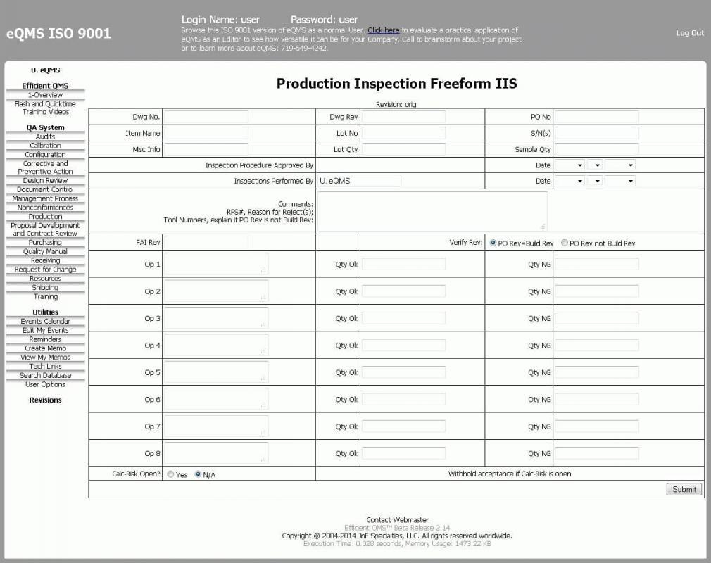 Inspection Report Template  Template Business Regarding Welding Inspection Report Template