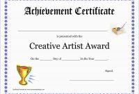 Inspirational Award Certificate Template Free  Best Of Template regarding Art Certificate Template Free