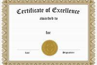 Inspirational Award Certificate Template Free  Best Of Template throughout Free Certificate Of Excellence Template