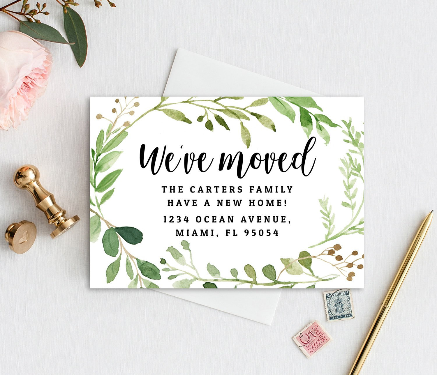 Instant Download Greenery We've Moved Card Template  Etsy Throughout Moving Home Cards Template