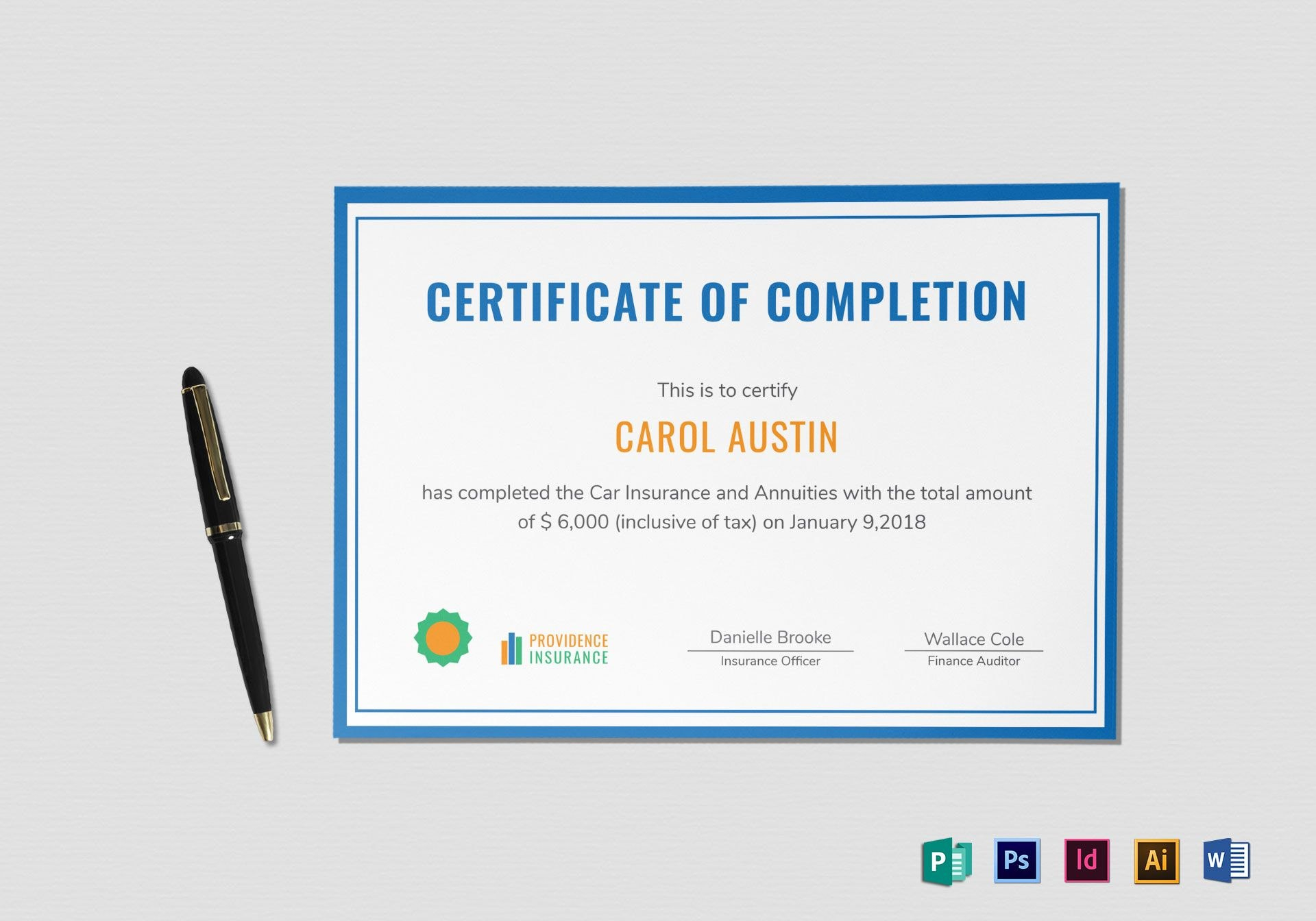 Insurance Completion Certificate Design Template In Psd Word Inside Indesign Certificate Template