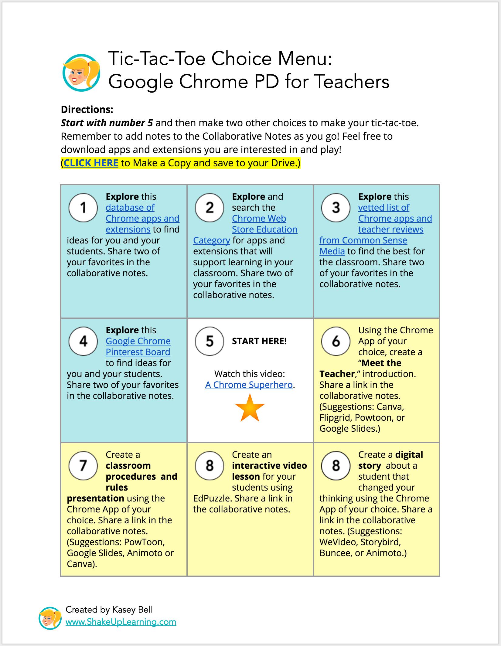 Interactive Learning Menus Choice Boards Using Google Docs Inside Tic Tac Toe Menu Template