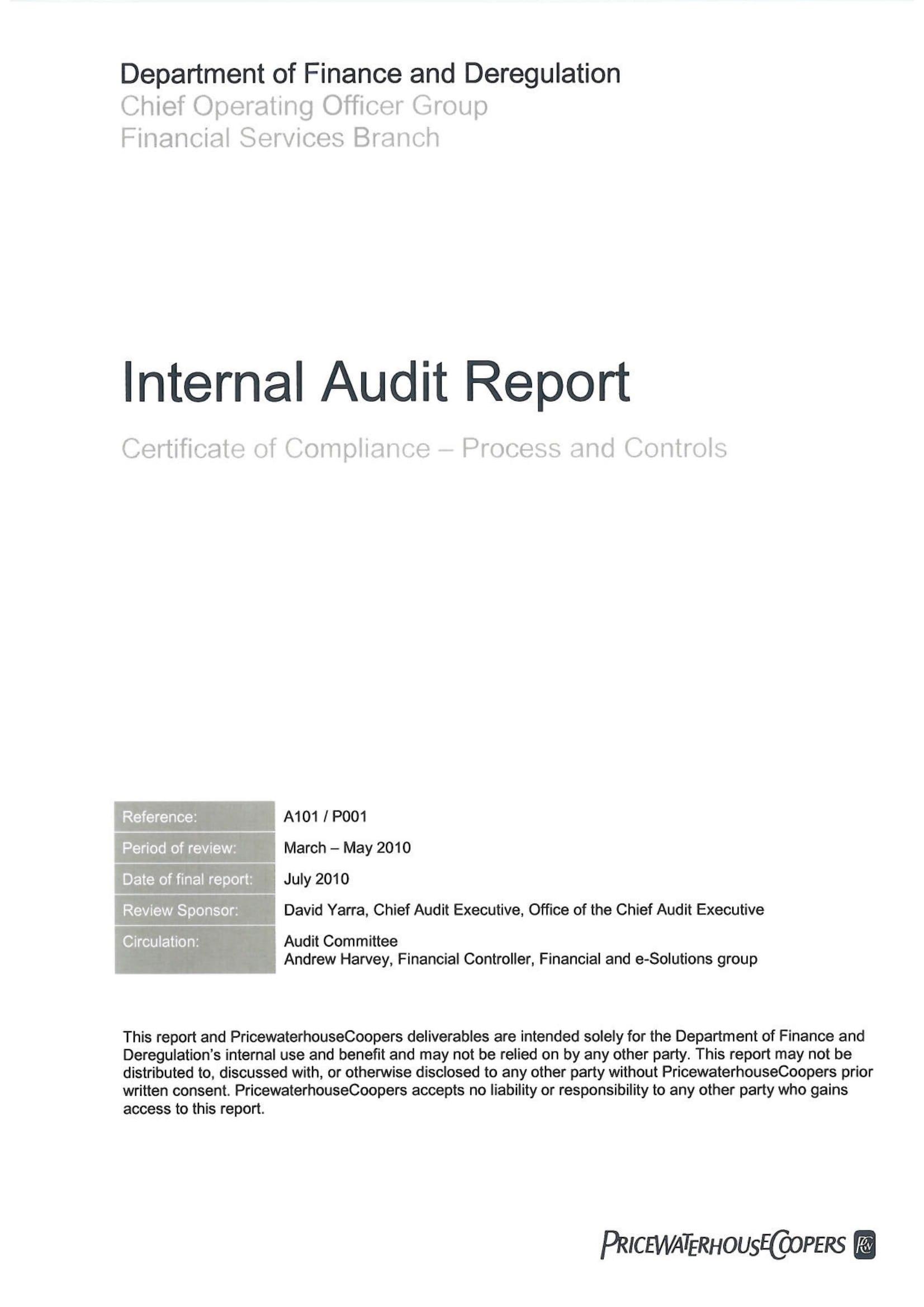 Internal Audit Report Examples  Pdf Word  Examples Intended For Internal Control Audit Report Template