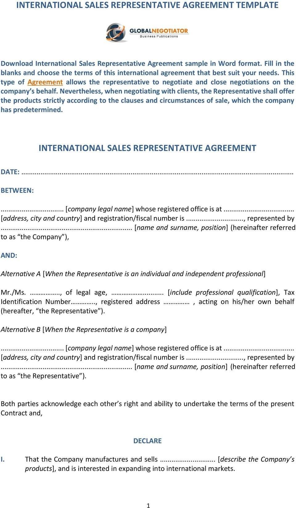 International Sales Representative Agreement Template International For Legal Representation Agreement Template