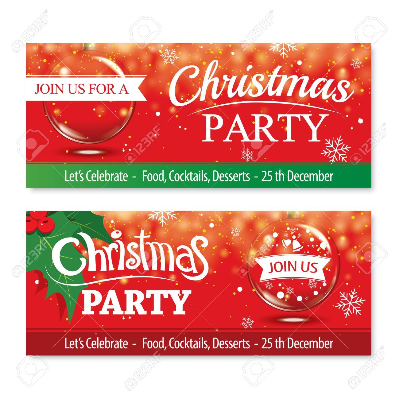 Invitation Merry Christmas Banner And Card Design Templateglass In Merry Christmas Banner Template