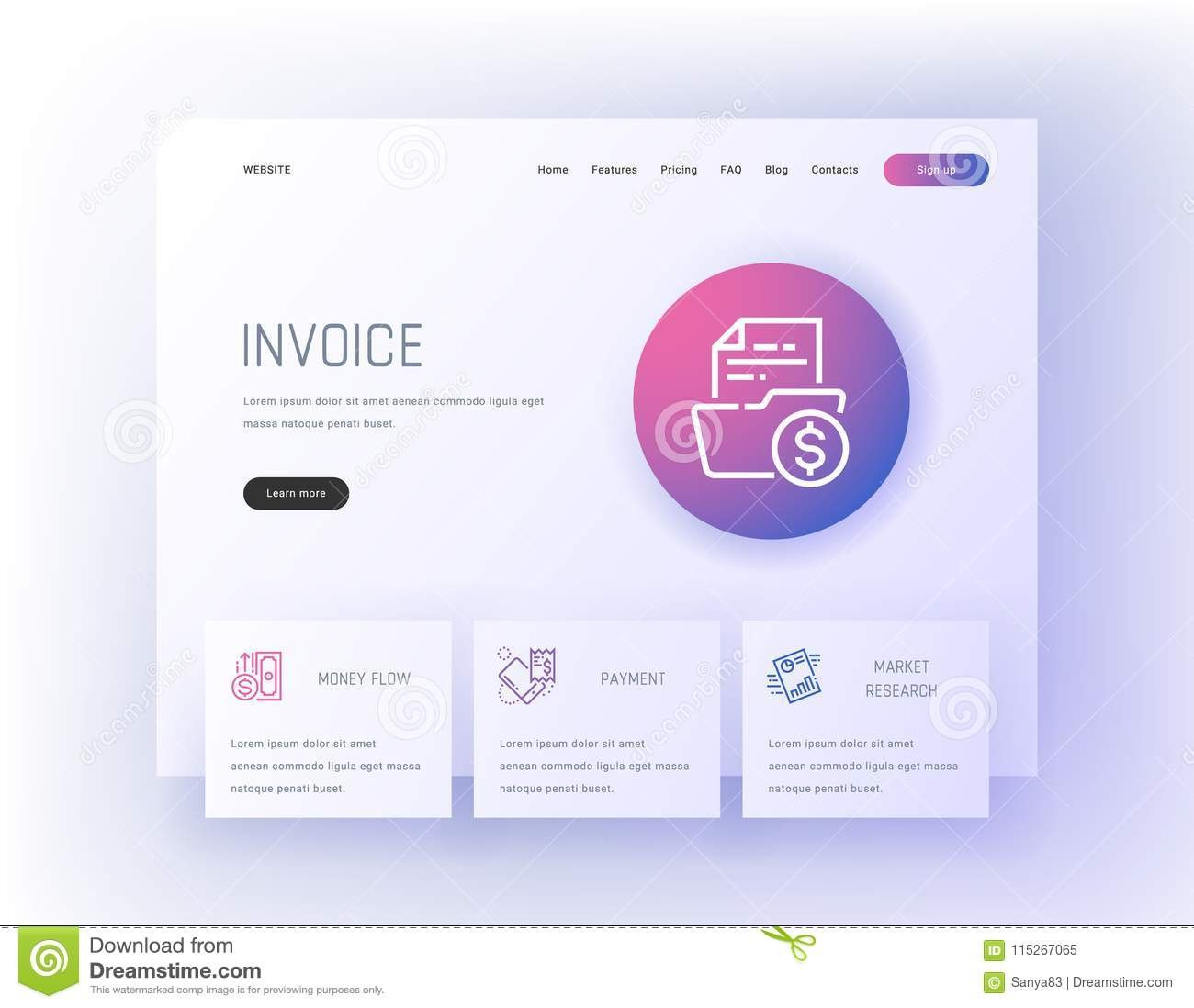Invoice Money Flow Payment Market Research Landing Page Template Inside Market Research Agreement Template