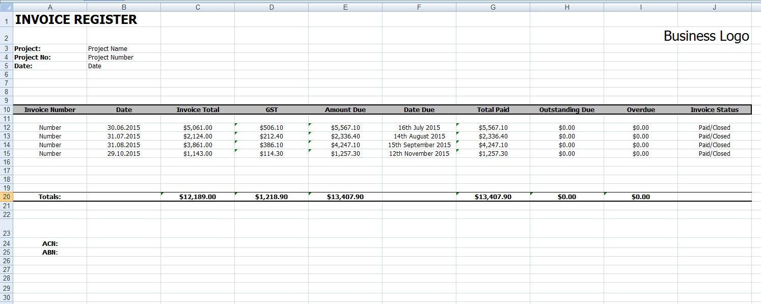Invoice Register Template Intended For Invoice Register Template