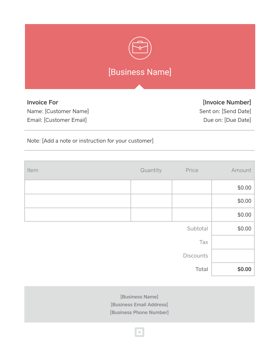 Invoice Template  Generate Custom Invoices  Square Intended For Download An Invoice Template