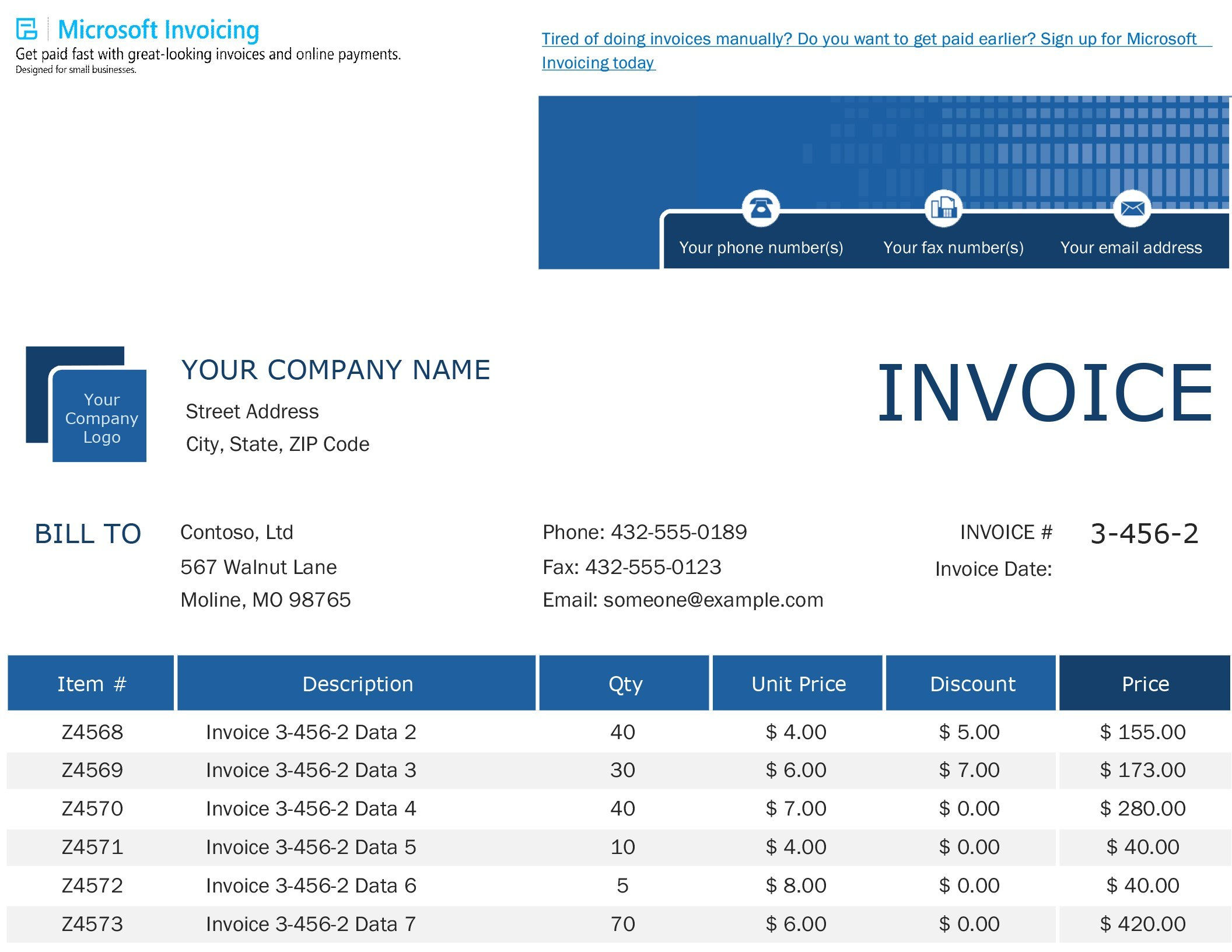 Invoices  Office Intended For Xl Invoice Template