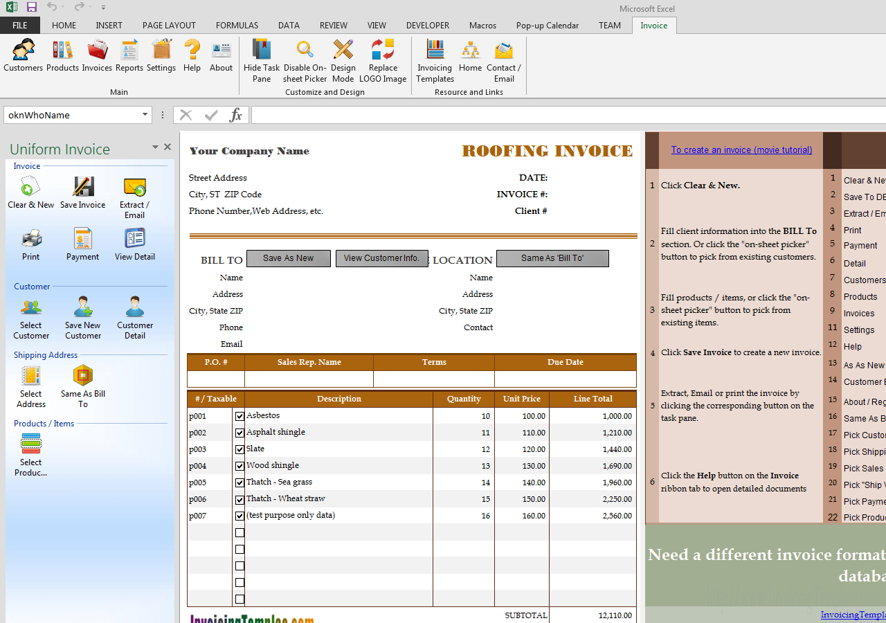 Invoicing Template For Roofing Service Throughout Roofing Invoice Template Free