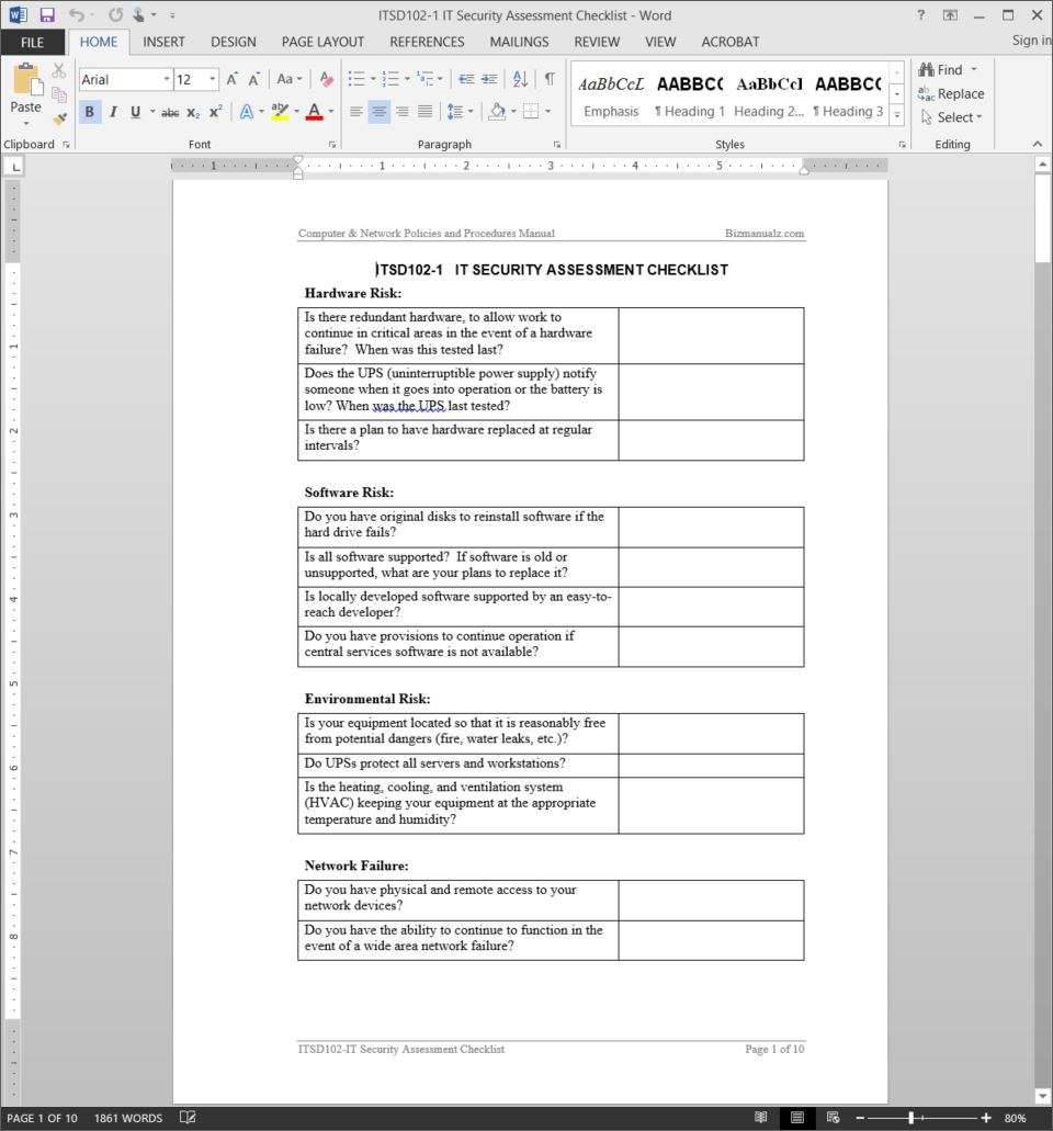 It Security Assessment Checklist Template Throughout It Report Template For Word