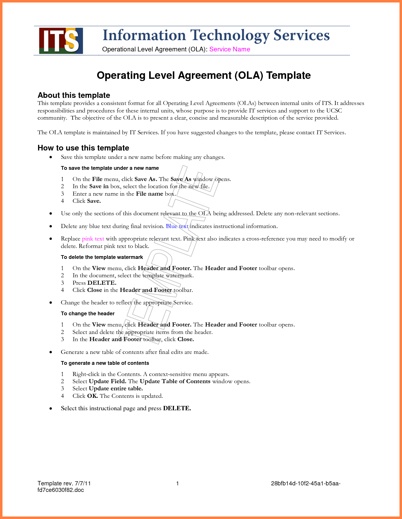 It Service Level Agreement Example   Standard Service Level Regarding Standard Service Level Agreement Template