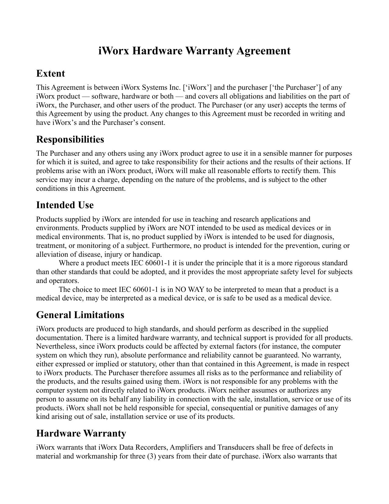 Iworx Hardware Warranty Agreement  Manualzz Intended For Software Warranty Agreement Template