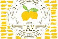 Jam Label Design Template For Lemon Dessert Product With Hand Drawn for Dessert Labels Template