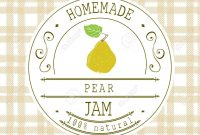 Jam Label Design Template For Pear Dessert Product With Hand in Dessert Labels Template