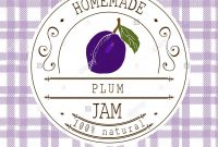 Jam Label Design Template For Plum Dessert Product With Hand Drawn for Dessert Labels Template