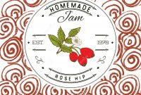 Jam Label Design Template For Rose Hip Dessert Product With Hand inside Dessert Labels Template