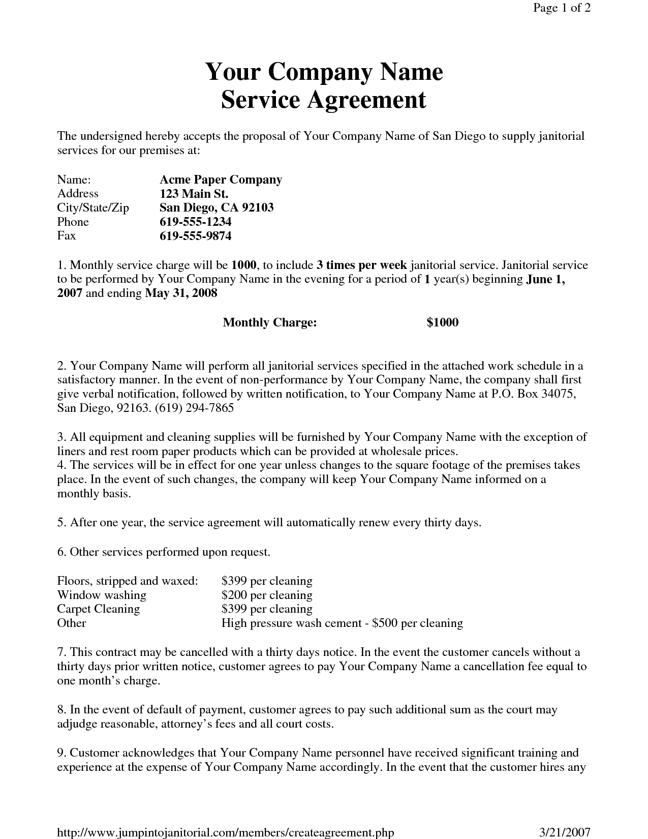 Janitorial Service Agreementhgh  Sample Janitorial Within Cleaning Business Contract Template
