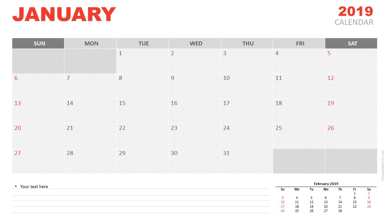 January  Calendar For Powerpoint  Presentationgo Throughout Microsoft Powerpoint Calendar Template