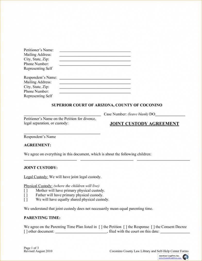 Joint Custody Agreement Forms Kentucky With Joint Custody Agreement Template