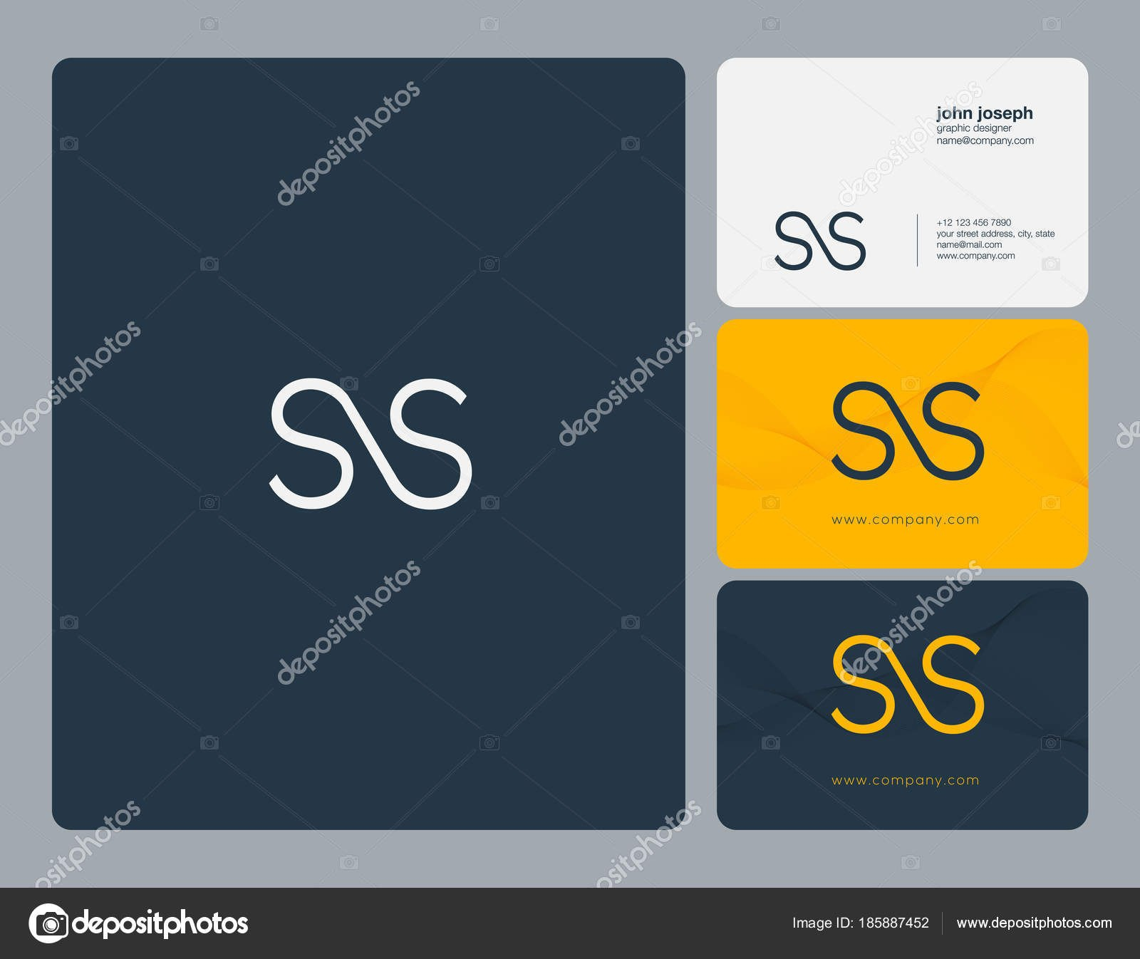 Joint Letters Logo Business Card Template Vector — Stock Vector Within Ss Card Template