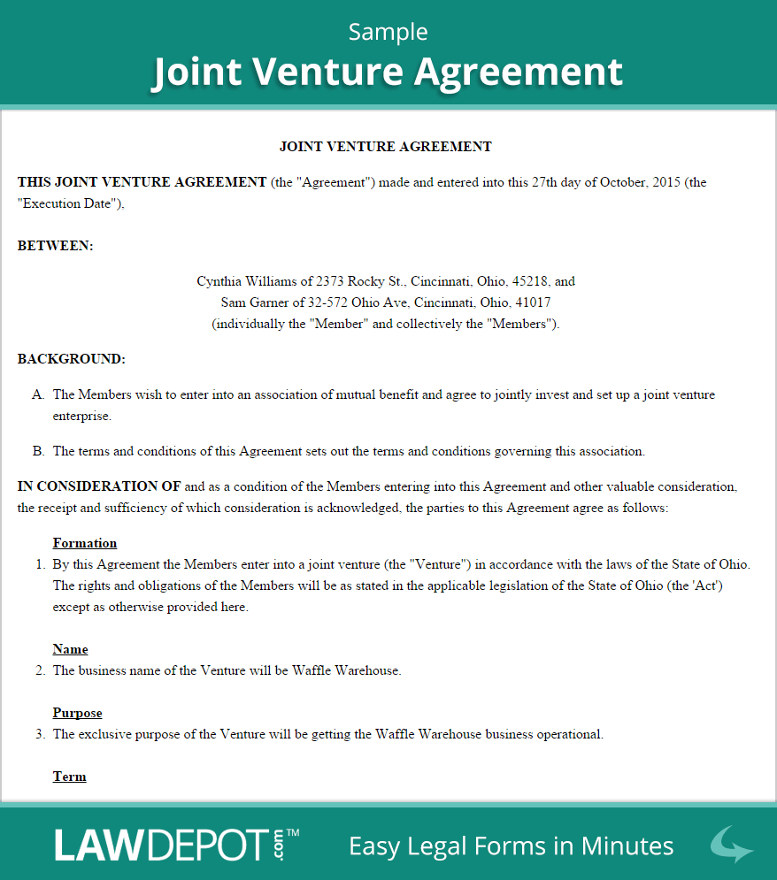 Joint Venture Agreement  Free Joint Venture Forms Us  Lawdepot With Joint Account Agreement Template