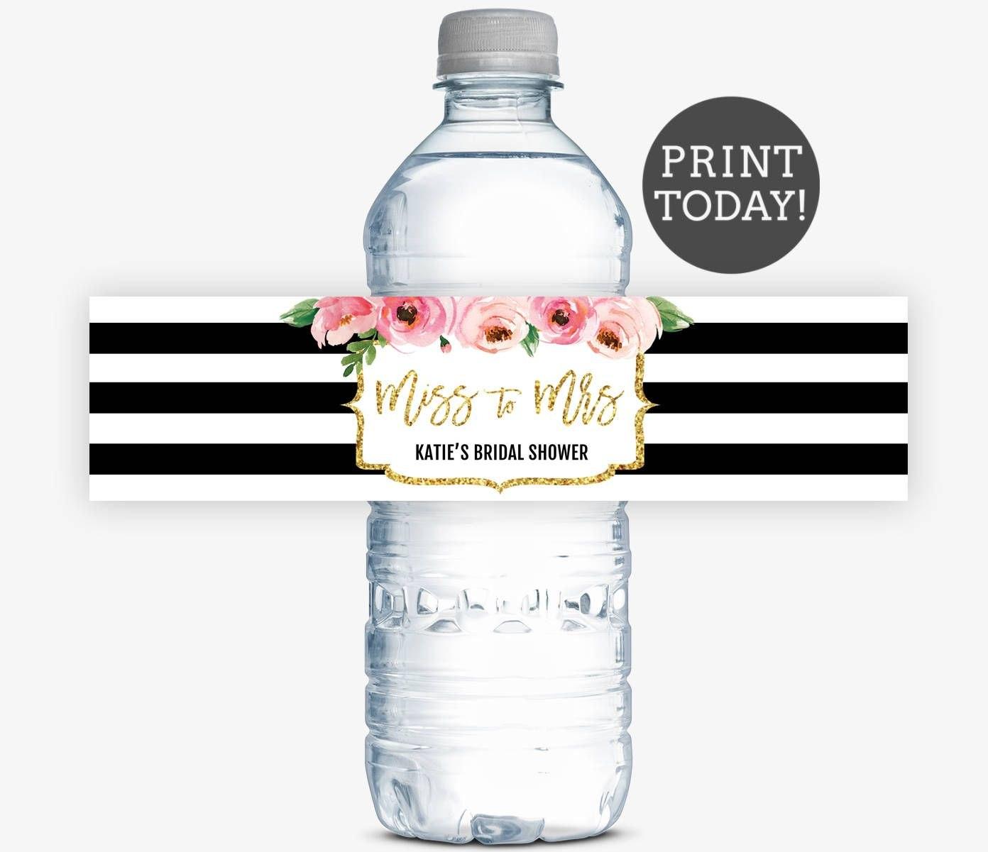 Kate Bridal Shower Water Bottle Labels Spade Inspired Bridal Shower With Regard To Diy Water Bottle Label Template