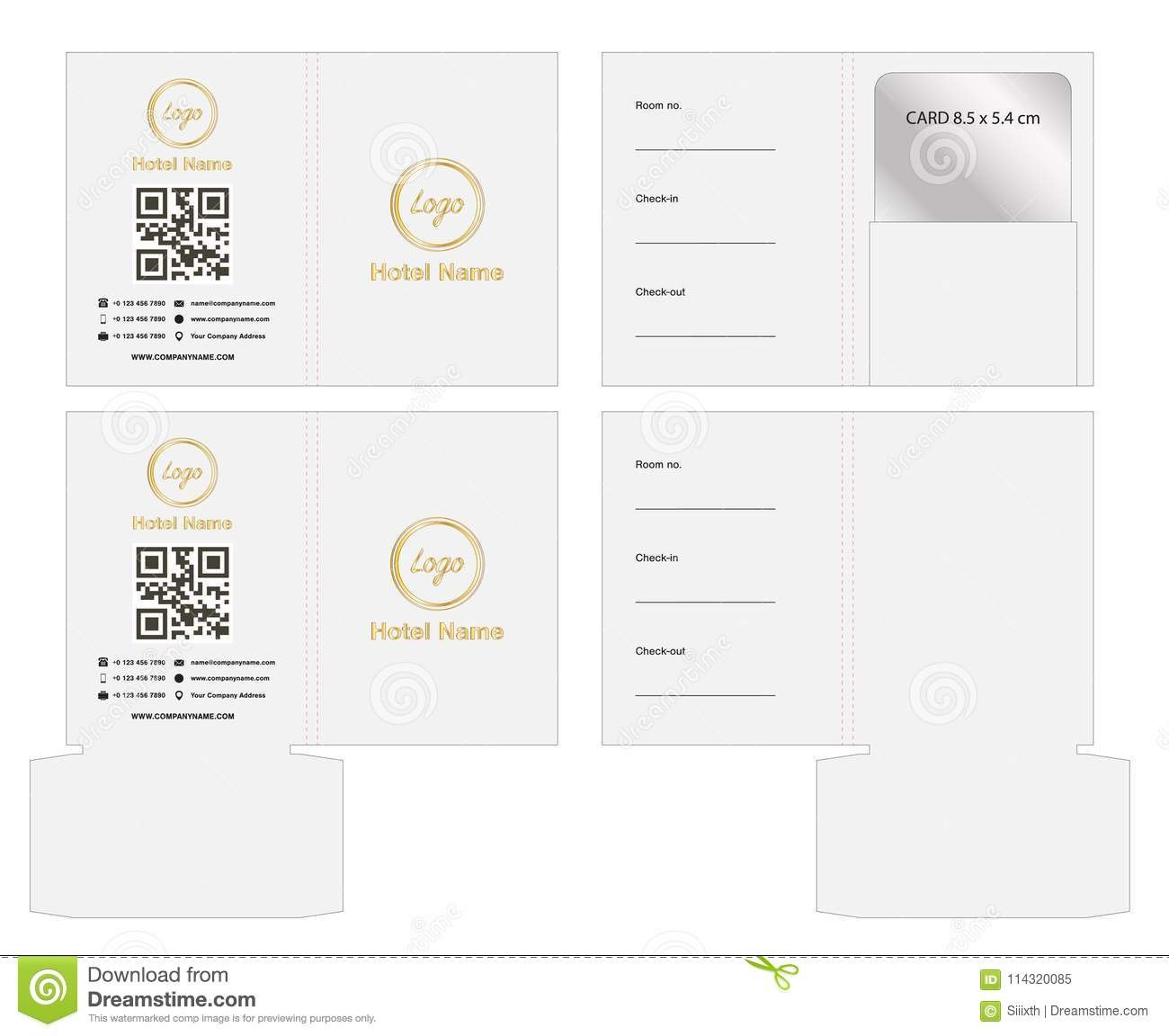 Key Card Envelope Diecut Template Mock Up Vector Stock Vector With Regard To Hotel Key Card Template