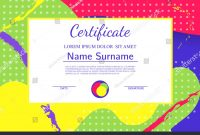 Kids Diploma Certificate Template Abstract Shapes Stock Vector inside Fun Certificate Templates