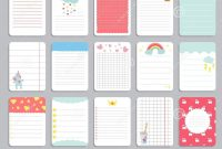 Kids Notebook Page Template Vector Cards Notes Stickers Labels regarding Notebook Label Template