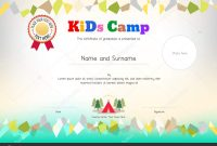 Kids Summer Camp Diploma Or Certificate Template Award Ribbon And with regard to Summer Camp Certificate Template