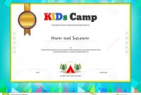 Kids Summer Camp Diploma Or Certificate Template With Colorful B regarding Summer Camp Certificate Template