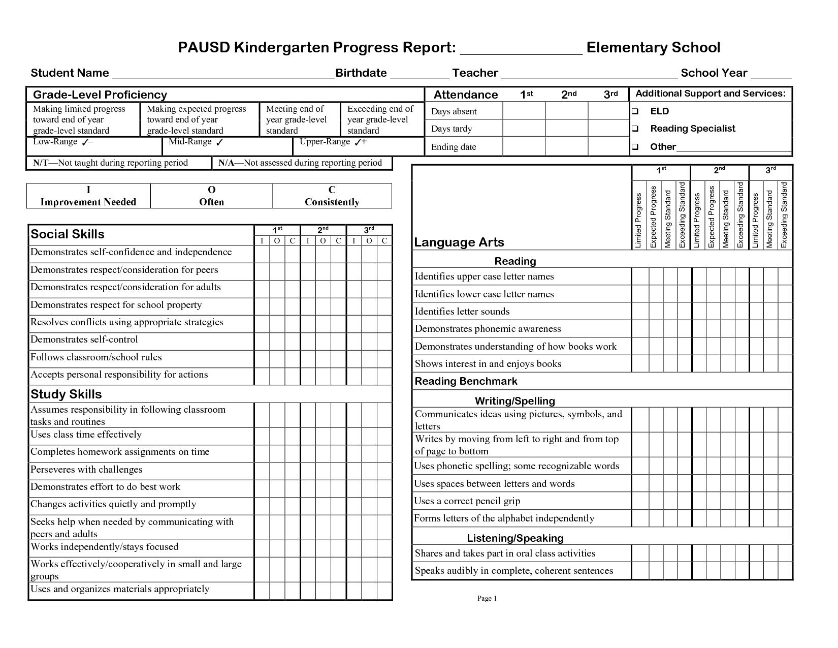 Kindergarten Progress Report Template  Ideas Middle School Pertaining To High School Progress Report Template