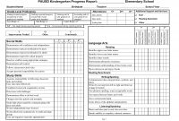 Kindergarten Social Skills Progress Report Blank Templates  Lessons intended for Kindergarten Report Card Template