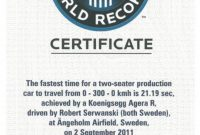 Koenigsegg Agera R Guiness World Record Certificate regarding Guinness World Record Certificate Template