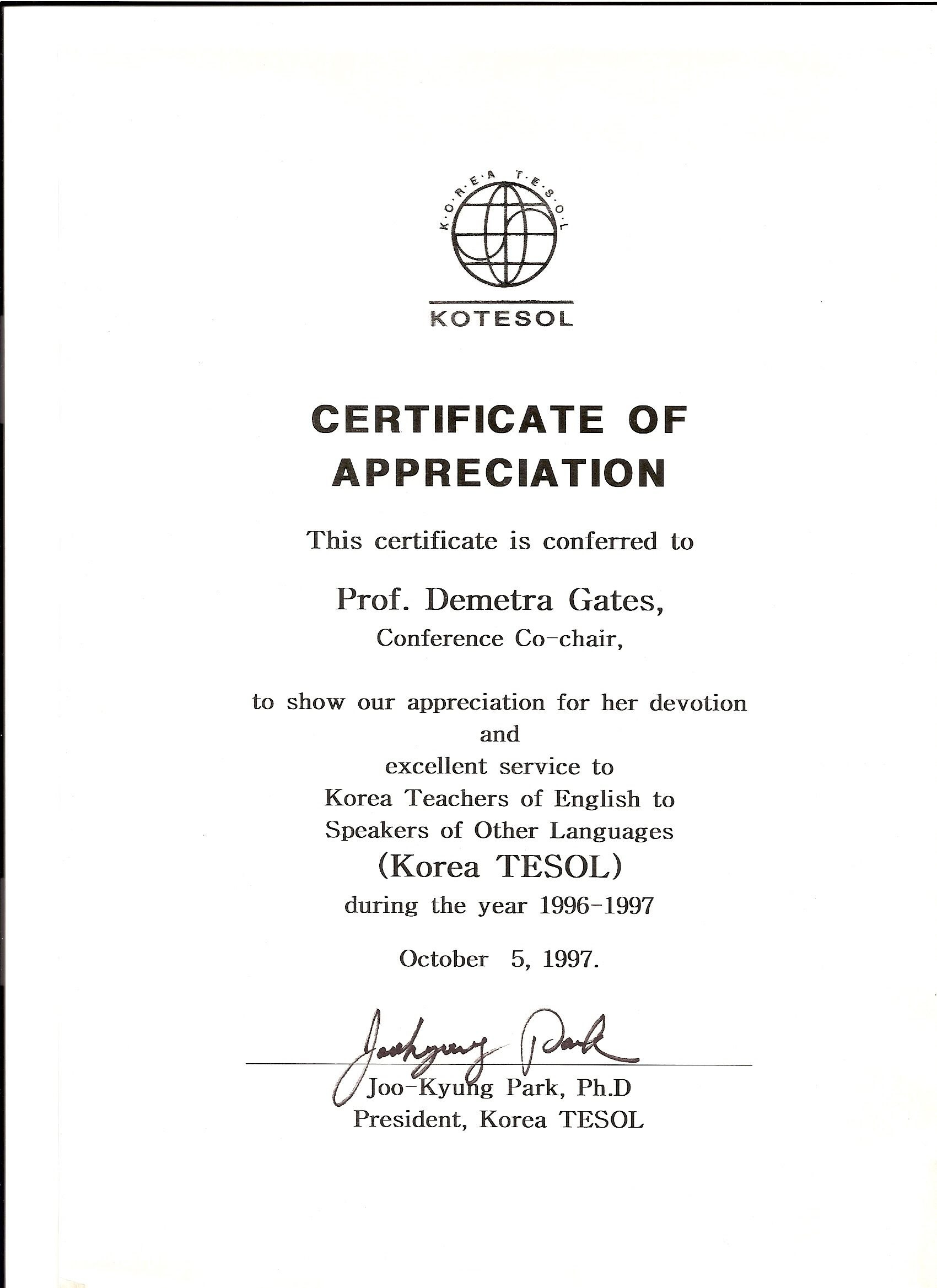 Kotesol Presidential Certificate Of Appreciation  Conference Inside Army Certificate Of Completion Template