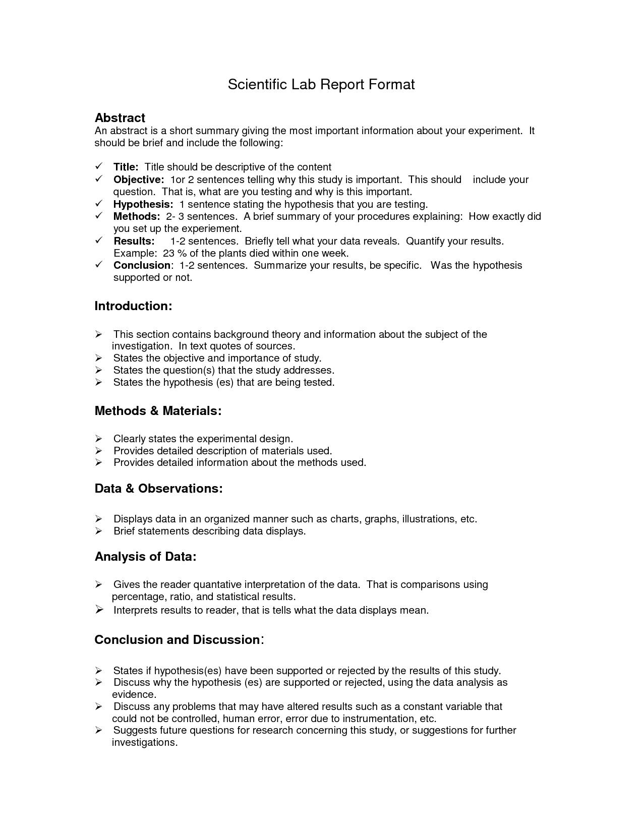 Lab Report Format Doc  Environmental Science Lessons  Lab Report In Formal Lab Report Template
