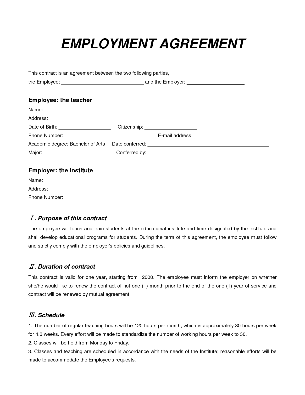 Labor Contract Template  Invitation Templates  Employment Intended For Collateral Warranty Agreement Template