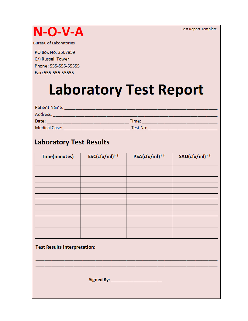Laboratory Test Report Template Pertaining To Test Result Report Template