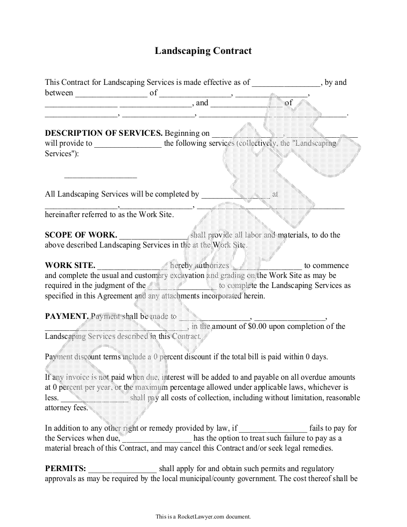 Landscaping Contract Template  Lawn Maintenance Contract In Contract For Service Agreement Template