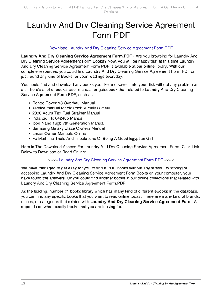 Laundry And Dry Cleaning Service Agreement Form Pdf Laundry And Dry For Laundry Service Agreement Template