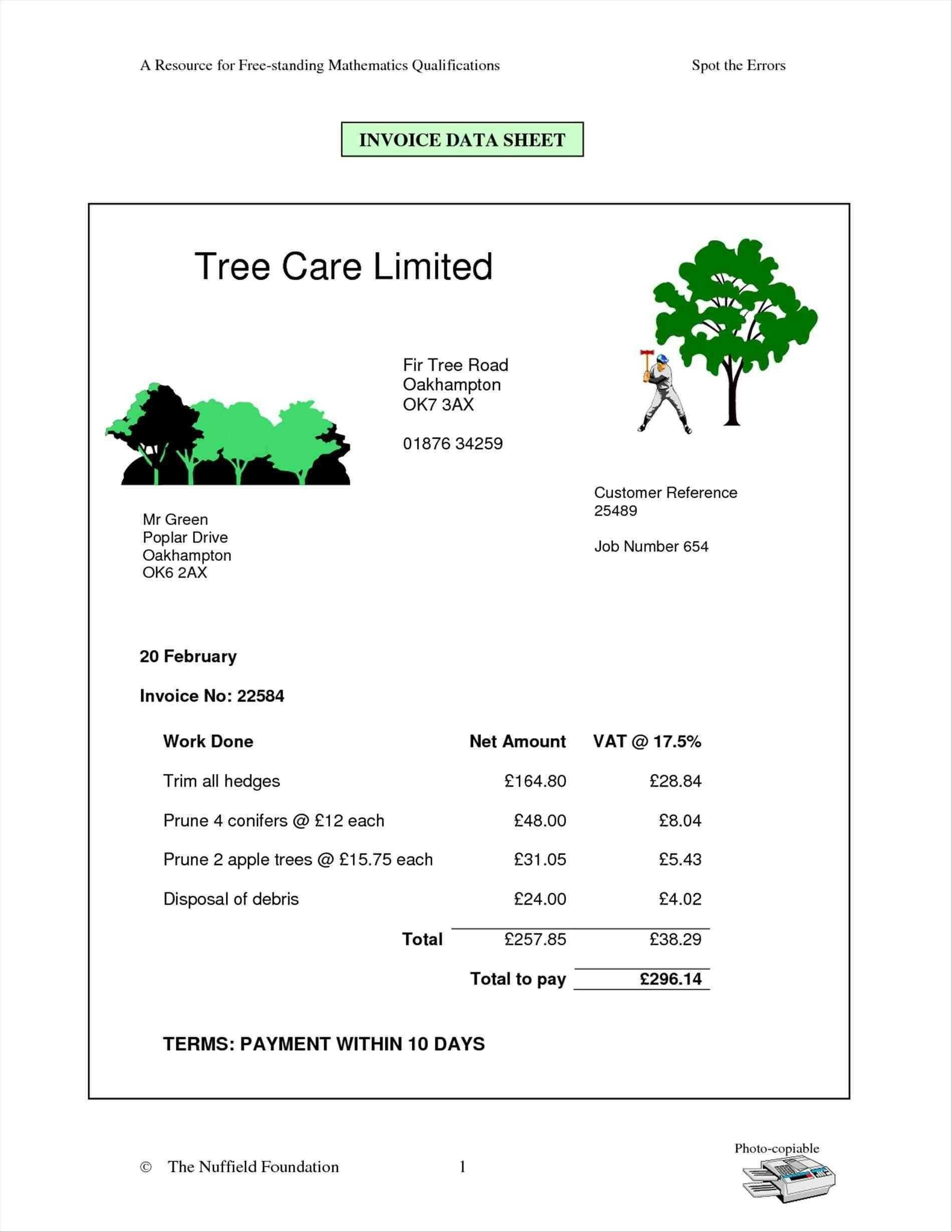 Lawn Renovation New Standard Invoice Form Elegant Lawn Care Invoice For Lawn Maintenance Invoice Template
