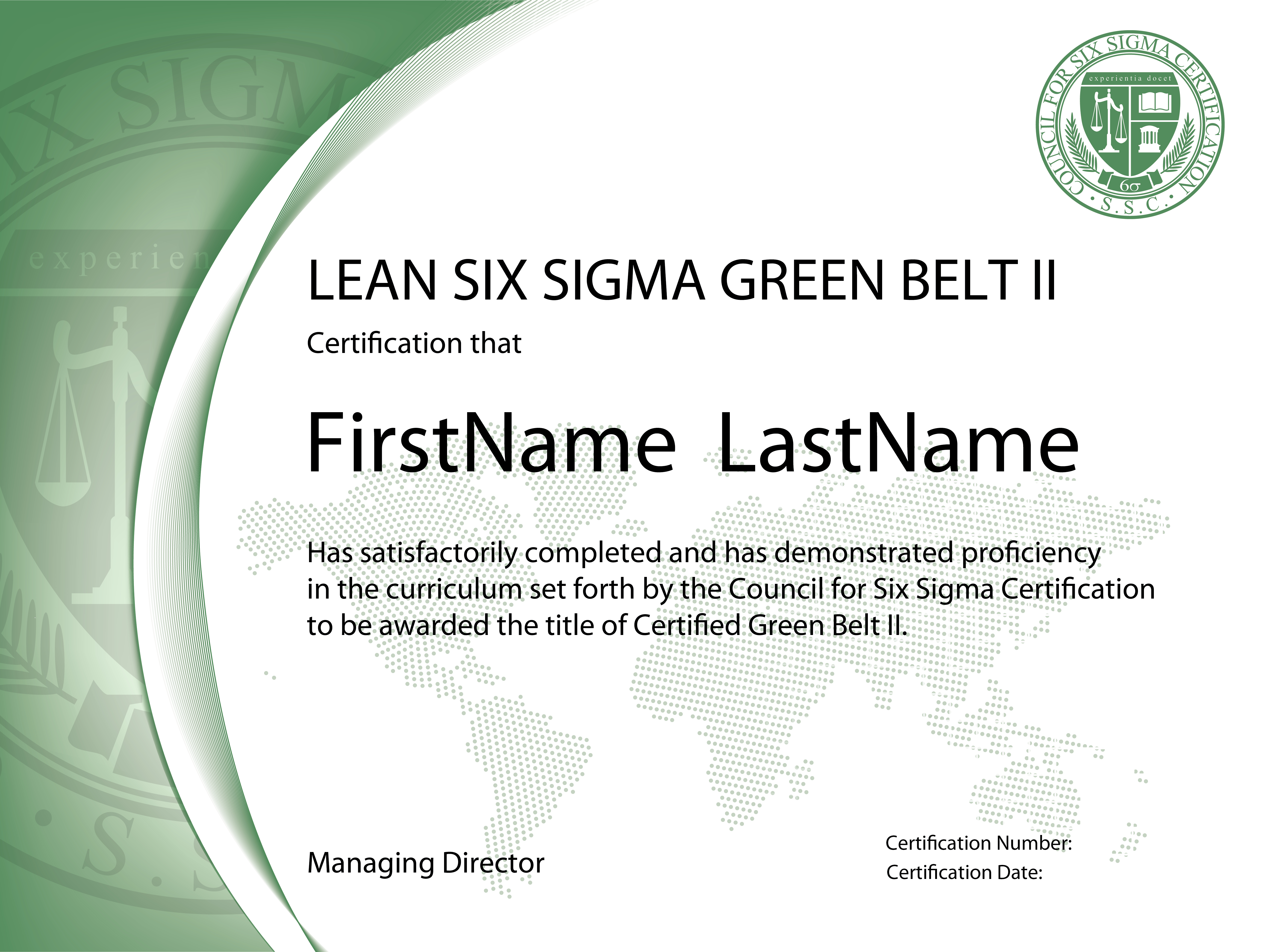 Lean Six Sigma Green Belt Certification  Level Ii  The Council For Throughout Green Belt Certificate Template