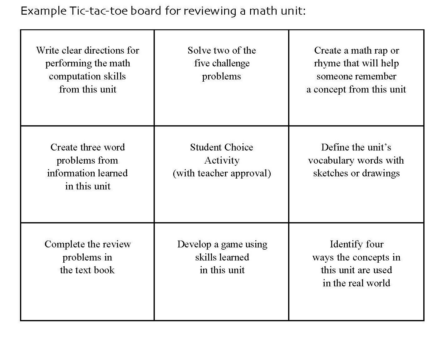 Learning Menu Template Sharing A Few Of My Mobile Learning Sample In Tic Tac Toe Menu Template
