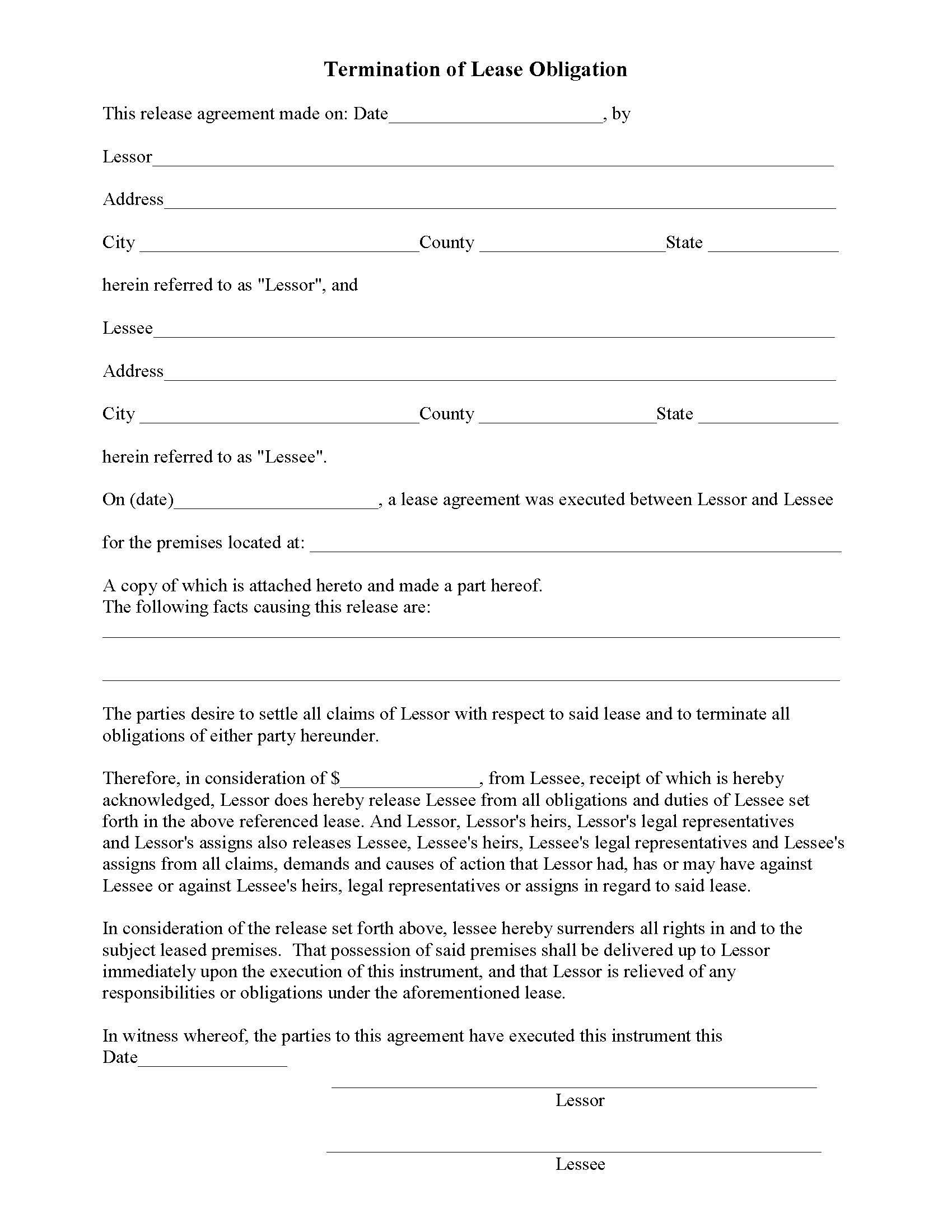 Lease Release Form Termination Of Lease Obligation  Release Forms Pertaining To Surrender Of Lease Agreement Template