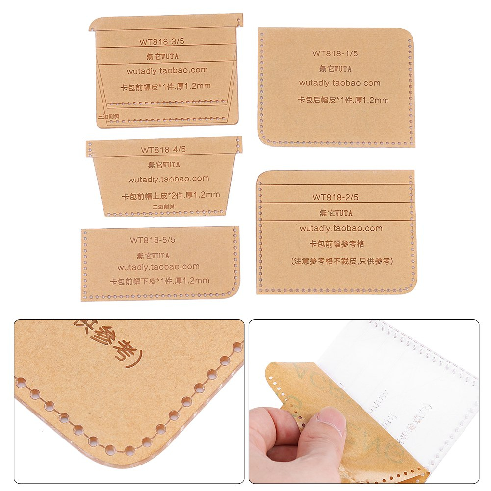 Leather Pattern Card Holder Case Template Mold Set Diy Making Throughout Card Stand Template