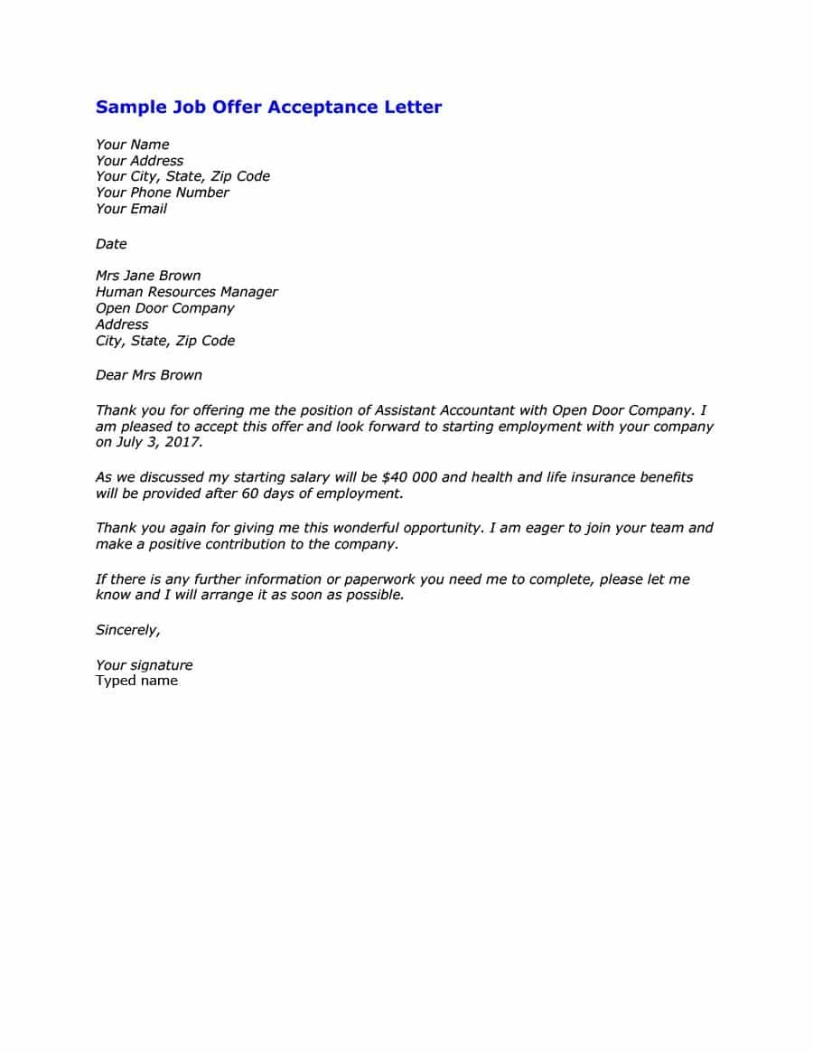 Letter Of Employment Templates Template Ideas Job Acceptance Regarding Certificate Of Acceptance Template