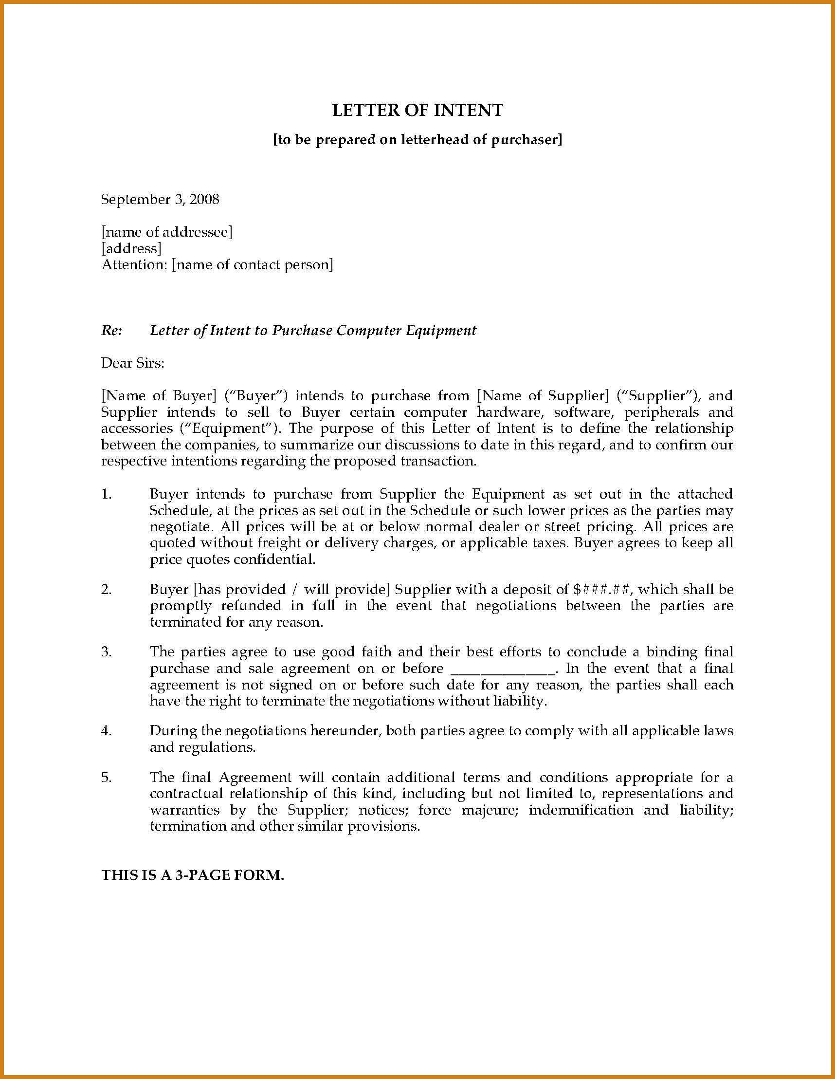 Letter Of Intent To Purchase Equipment Template Gallery In Land Promotion Agreement Template